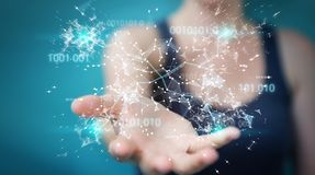 Businesswoman using digital binary code connection network 3D re. Businesswoman on blurred background using digital binary code connection network 3D rendering Royalty Free Stock Images