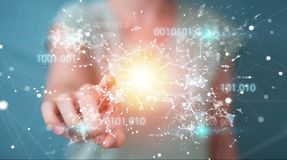 Businesswoman using digital binary code connection network 3D re. Businesswoman on blurred background using digital binary code connection network 3D rendering Stock Photography
