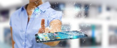 Businesswoman using digital binary code on mobile phone 3D rende. Businesswoman on blurred background using digital binary code on mobile phone 3D rendering Royalty Free Stock Photos
