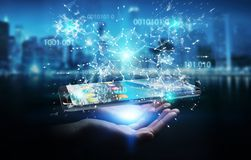 Businesswoman using digital binary code on mobile phone 3D rende. Businesswoman on blurred background using digital binary code on mobile phone 3D rendering Stock Image
