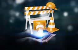 Businesswoman using digital 3D rendering under construction sign Stock Photos