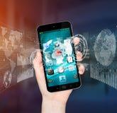 Businesswoman using digital mobile phone charts interface Stock Photo