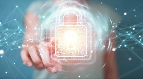 Businesswoman using digital padlock with data protection 3D rend. Businesswoman on blurred background using digital padlock with data protection 3D rendering Stock Photography