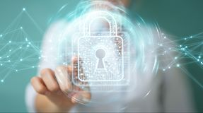 Businesswoman using digital padlock with data protection 3D rend. Businesswoman on blurred background using digital padlock with data protection 3D rendering Royalty Free Stock Image