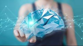 Businesswoman using digital x-ray human brain interface 3D rende Stock Photography