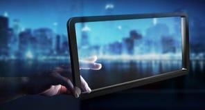Businesswoman using digital screens tablet 3D rendering. Businesswoman on blurred background using digital screens tablet 3D rendering Stock Photo