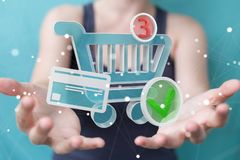 Businesswoman using digital shopping icons 3D rendering. Businesswoman on blurred background using digital shopping icons 3D rendering Stock Photography
