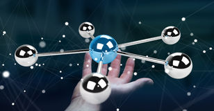 Businesswoman using flying 3D spheres network 3D rendering. Businesswoman on blurred background using flying 3D spheres network 3D rendering Stock Images