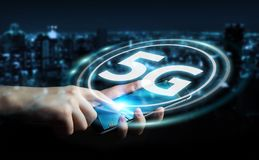Businesswoman using 5G network interface 3D rendering. Businesswoman on blurred background using 5G network interface 3D rendering Stock Photos