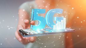 Businesswoman using 5G network with mobile phone 3D rendering. Businesswoman on blurred background using 5G network with mobile phone 3D rendering vector illustration