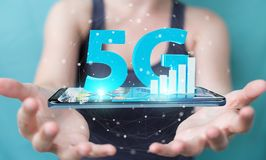 Businesswoman using 5G network with mobile phone 3D rendering. Businesswoman on blurred background using 5G network with mobile phone 3D rendering Stock Photography