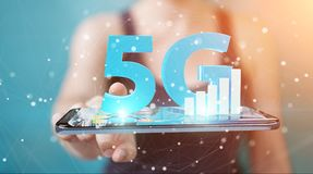 Businesswoman using 5G network with mobile phone 3D rendering. Businesswoman on blurred background using 5G network with mobile phone 3D rendering Royalty Free Stock Images