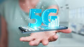 Businesswoman using 5G network with mobile phone 3D rendering. Businesswoman on blurred background using 5G network with mobile phone 3D rendering stock illustration