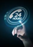 Businesswoman using hotline customer assistance 3D rendering. Businesswoman on blurred background using hotline customer assistance 3D rendering Stock Image