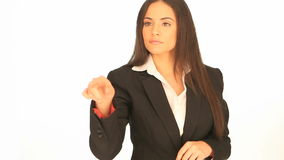 Businesswoman using interactive display Royalty Free Stock Photo