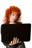 Businesswoman using laptop computer Stock Photo