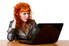 Businesswoman using laptop computer Royalty Free Stock Images