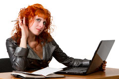 Businesswoman using laptop computer Royalty Free Stock Photos