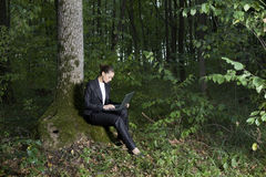 Businesswoman Using Laptop In Forest Royalty Free Stock Photos