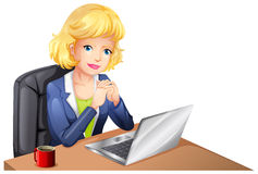A businesswoman using a laptop Royalty Free Stock Photography