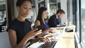 Businesswoman Using Laptop And Mobile Phone In Coffee Shop. Line of business people sitting in window of café using digital devices and eating lunch.Shot on stock footage