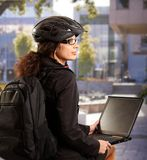 Businesswoman using laptop outdoor Royalty Free Stock Images