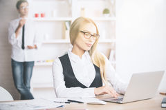 Businesswoman using laptop Royalty Free Stock Photo