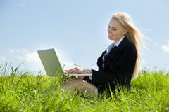 Businesswoman Using Laptop Royalty Free Stock Photography