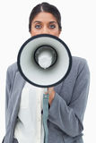 Businesswoman using megaphone Royalty Free Stock Images