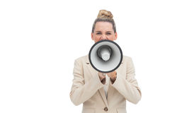 Businesswoman using megaphone Royalty Free Stock Photos