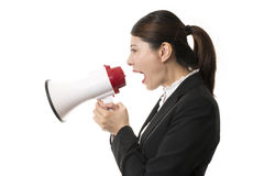 Businesswoman Using a Megaphone Royalty Free Stock Photography