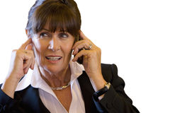 Businesswoman using mobile phone, close-up, cut out Royalty Free Stock Images