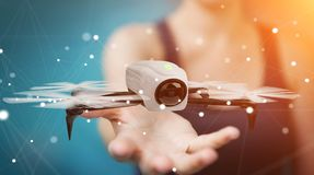 Businesswoman using modern drone 3D rendering Royalty Free Stock Photos