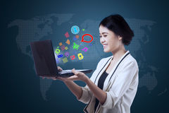 Businesswoman using multimedia app Royalty Free Stock Images