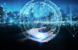 Businesswoman using planet earth network sphere 3D rendering. Businesswoman on blurred background using planet earth network sphere interface 3D rendering Royalty Free Stock Photography
