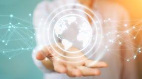 Businesswoman using planet earth network sphere 3D rendering stock illustration