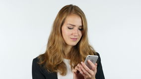 Businesswoman Using Smartphone , White background stock video footage