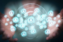 Businesswoman using social network interface 3D rendering Stock Photos