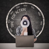 Businesswoman speak for action Royalty Free Stock Photo