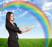Businesswoman using tablet Stock Photos