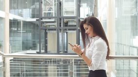 Businesswoman Using Tablet in Office Building.  stock video