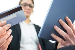 Businesswoman using a tablet pc Stock Photos