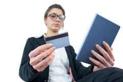 Businesswoman using a tablet pc Stock Image