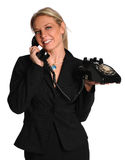 Businesswoman Using Vintage Phone Royalty Free Stock Photography