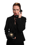 Businesswoman Using Vintage Phone Royalty Free Stock Photo