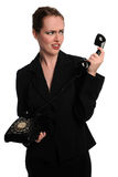 Businesswoman Using Vintage Phone Stock Photos
