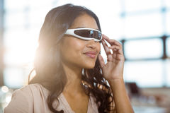 Businesswoman using virtual 3d glasses Stock Images