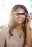 Businesswoman using virtual 3d glasses Royalty Free Stock Photo