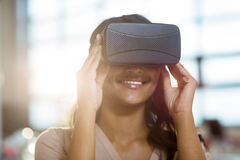 Businesswoman using virtual 3d glasses. In office Royalty Free Stock Image