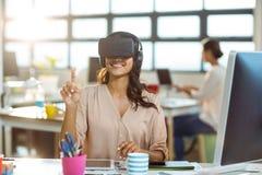 Businesswoman using virtual 3d glasses Stock Photos